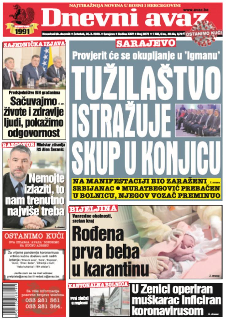 "Naslovna strana ""Dnevnog avaza"" za 26.03.2020."