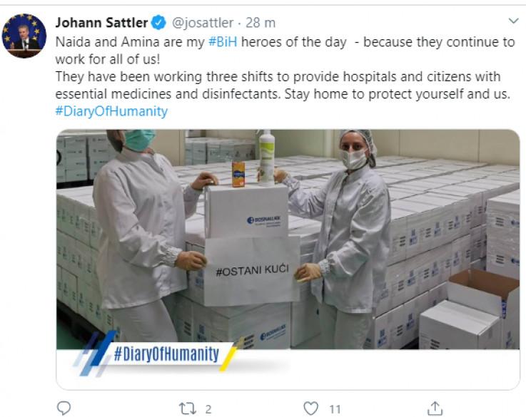 Satlerova objava na Twitteru