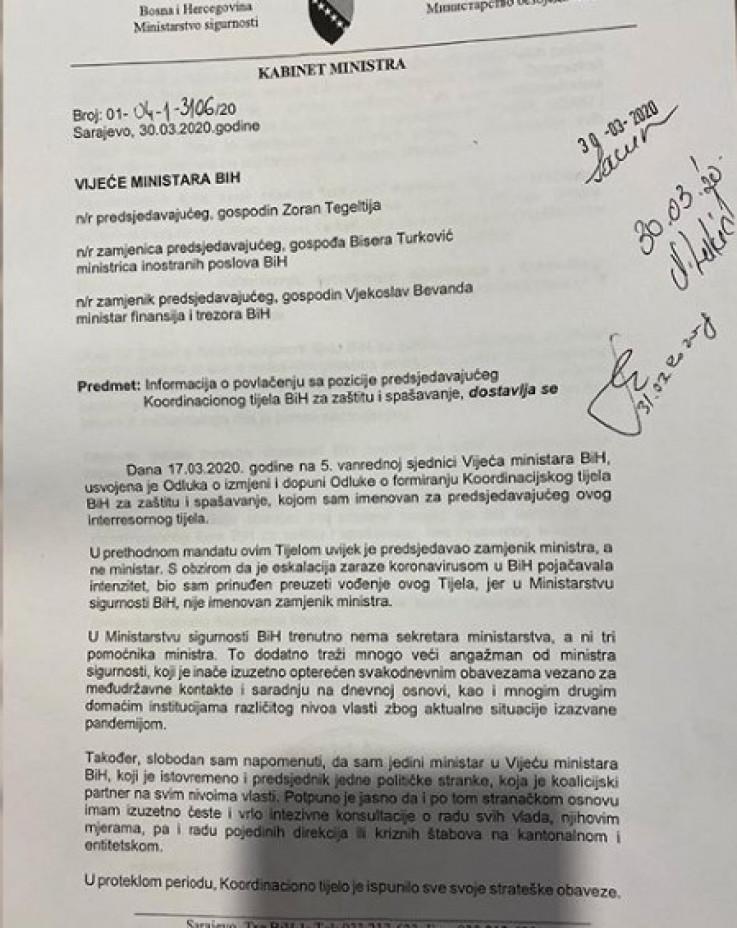 Faksimil Informacije o odstupanju s čela Koordinacionog tijela BiH