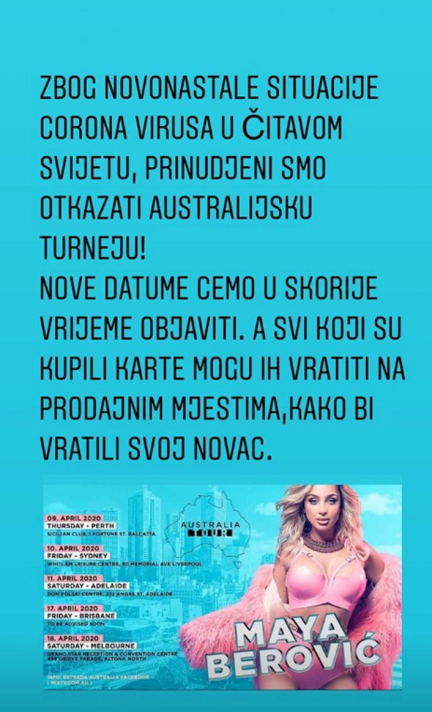 Berović: Otkazala turneju