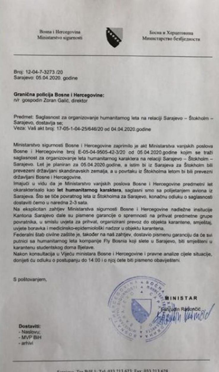 Faksimil dopisa Ministarstva sigurnosti