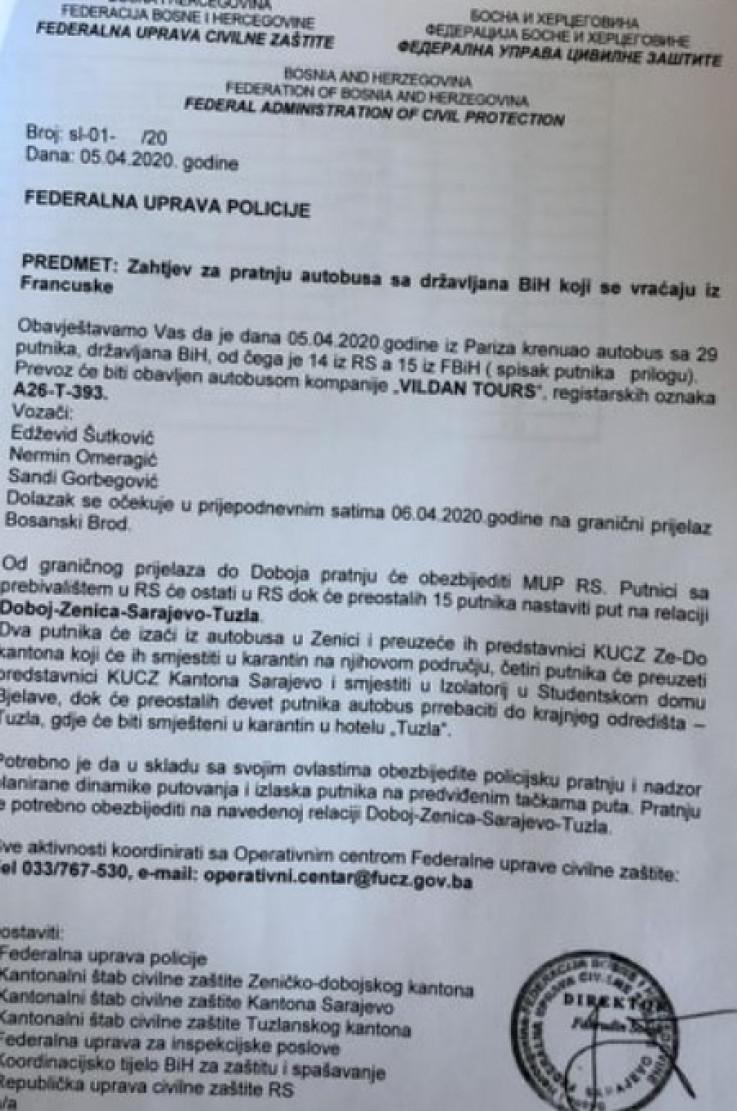 Faksimil dopisa Federalne uprave civilne zaštite FUP-u