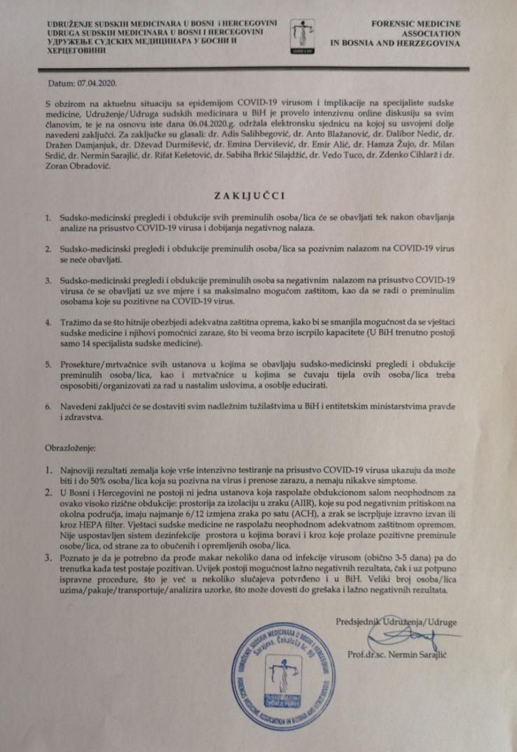 Zaključci Udruženja sudskih medicinara u BiH