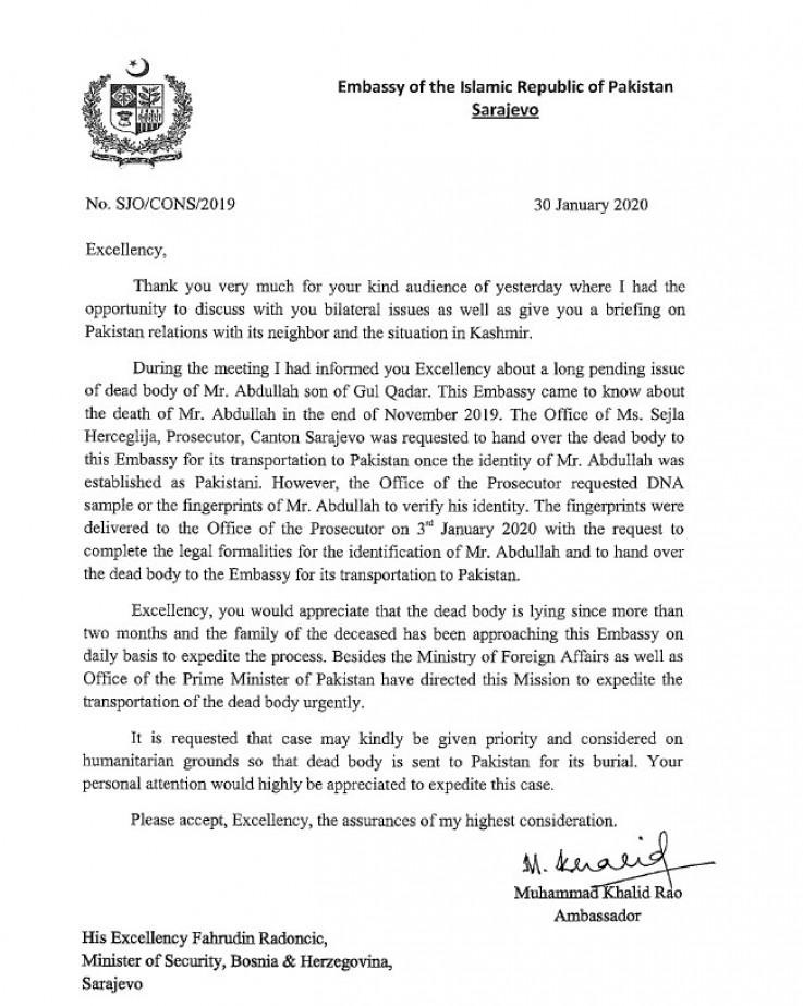 Pismo ambasadora Pakistana