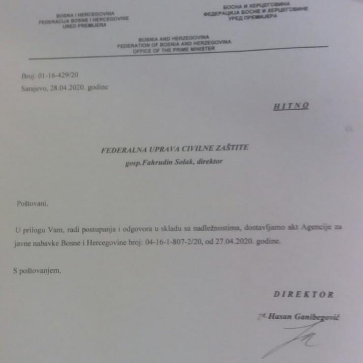 Faksimil odgovora Vlade FBiH: Hitan dopis Solaku