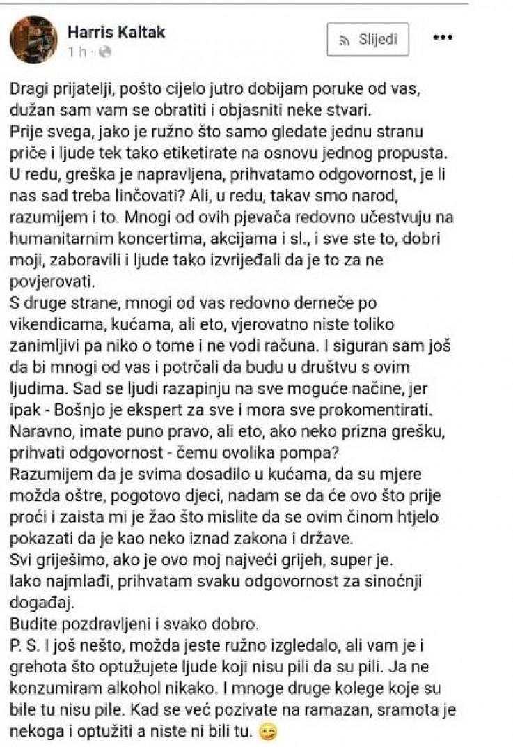 Objava muzičara Harisa Kaltaka - Avaz, Dnevni avaz, avaz.ba
