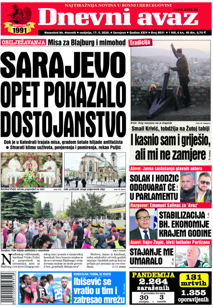 """Današnje izdanje """"Dnevnog avaza"""""""