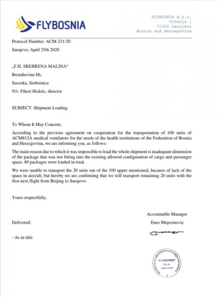 Dopis koji je potpisao Mujezinović