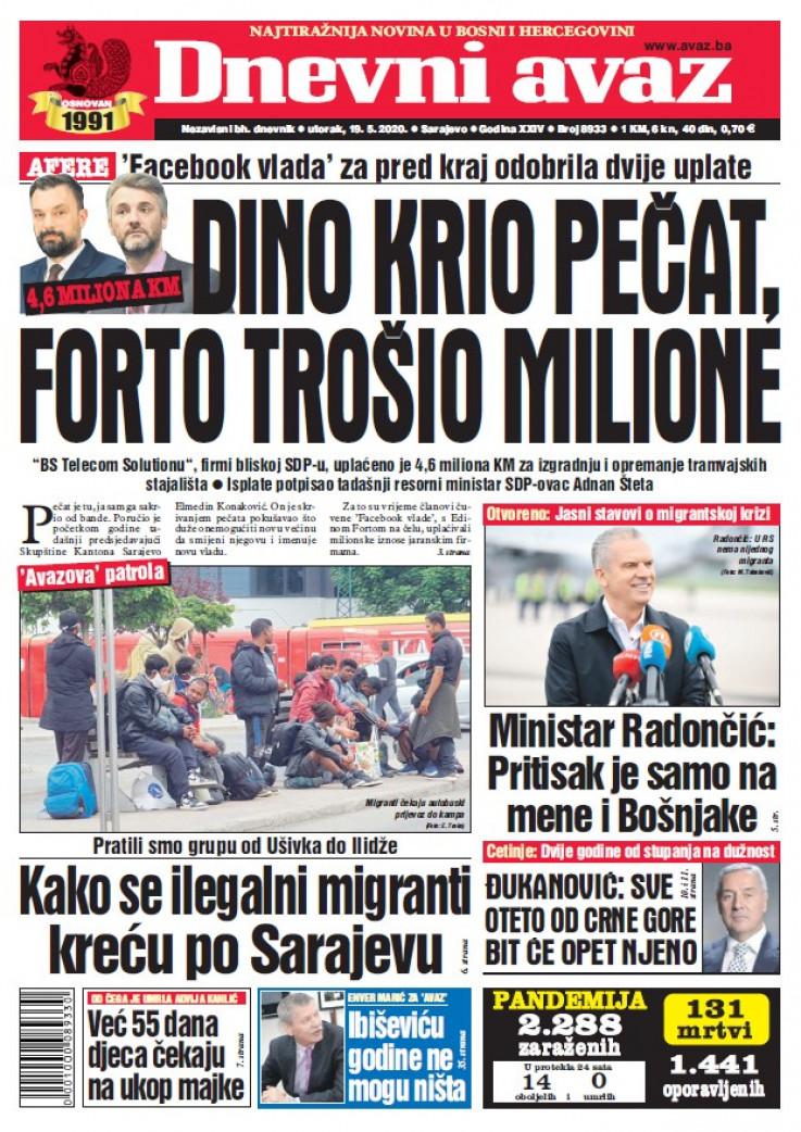 "Naslovna strana ""Dnevnog avaza"" za 18.5.2020."