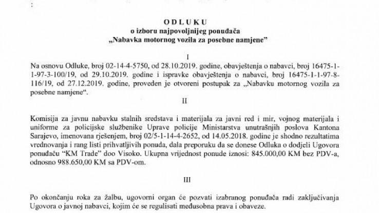 Odluka o nabavci vozila Kolićeve kompanije KM Trade