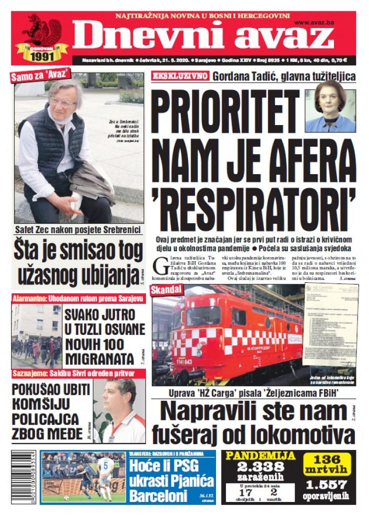 "Naslovna strana ""Dnevnog avaza"" za 21.5.2020."