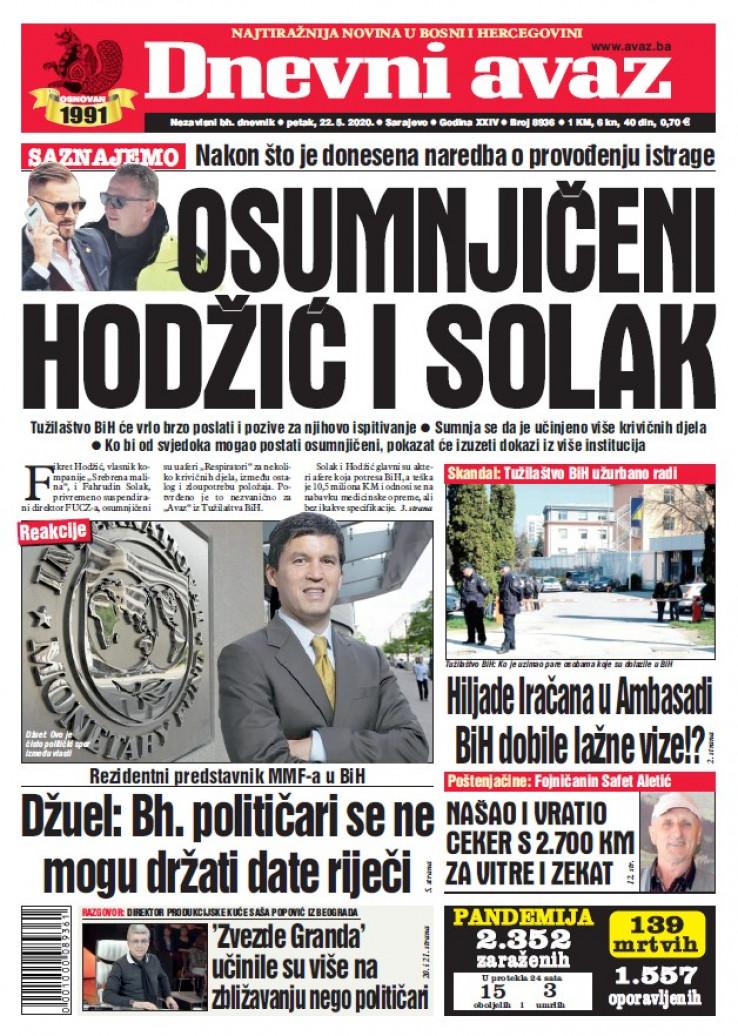 "Naslovna strana ""Dnevnog avaza"" za 22.5.2020."