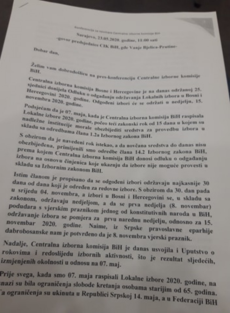 Faksimil odluke CIK-a BiH