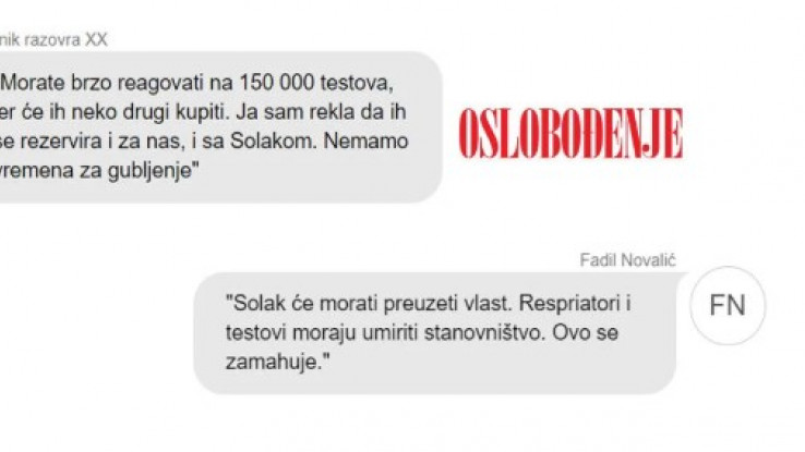 Printscreen poruka koje je slao Novalić