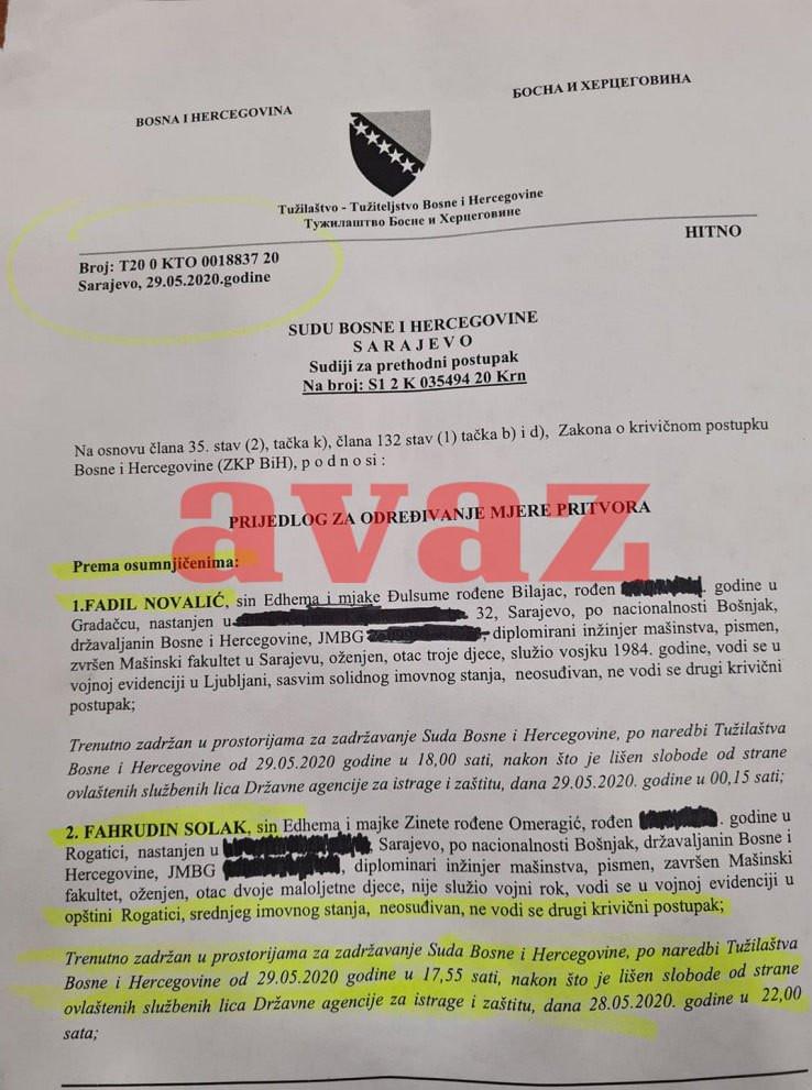 Faksimil Tužilaštva BiH od 20. maja, a odnosi se na prijedlog za određivanje pritvora