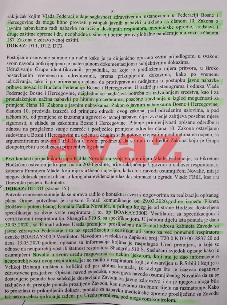 Faksimil Tužilaštva: Ko je od ljekara bio kod Novalića i kakve je ponude prvo slao Hodžić