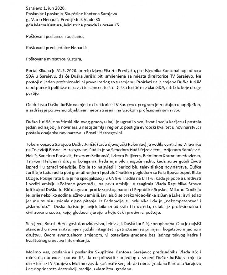 Pismo bh. novinara i intelektualaca
