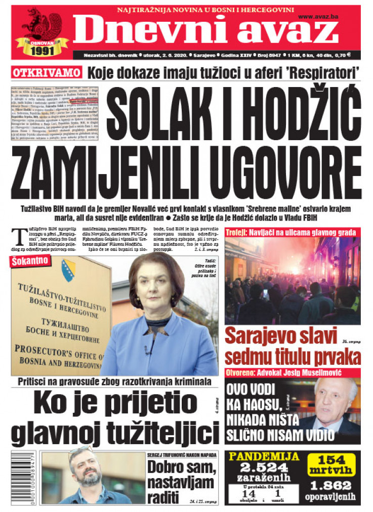 "Naslovna strana ""Dnevnog avaza"" za 02.06.2020."