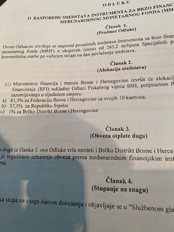 Odluka o raspodjeli sredstava MMF-a - Avaz, Dnevni avaz, avaz.ba