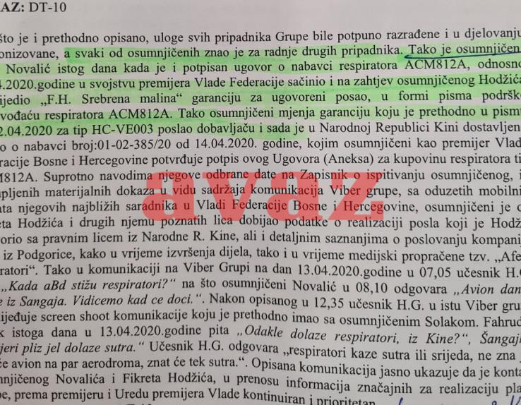 Faksimil Tužilaštva: Šta je poslao Novalić