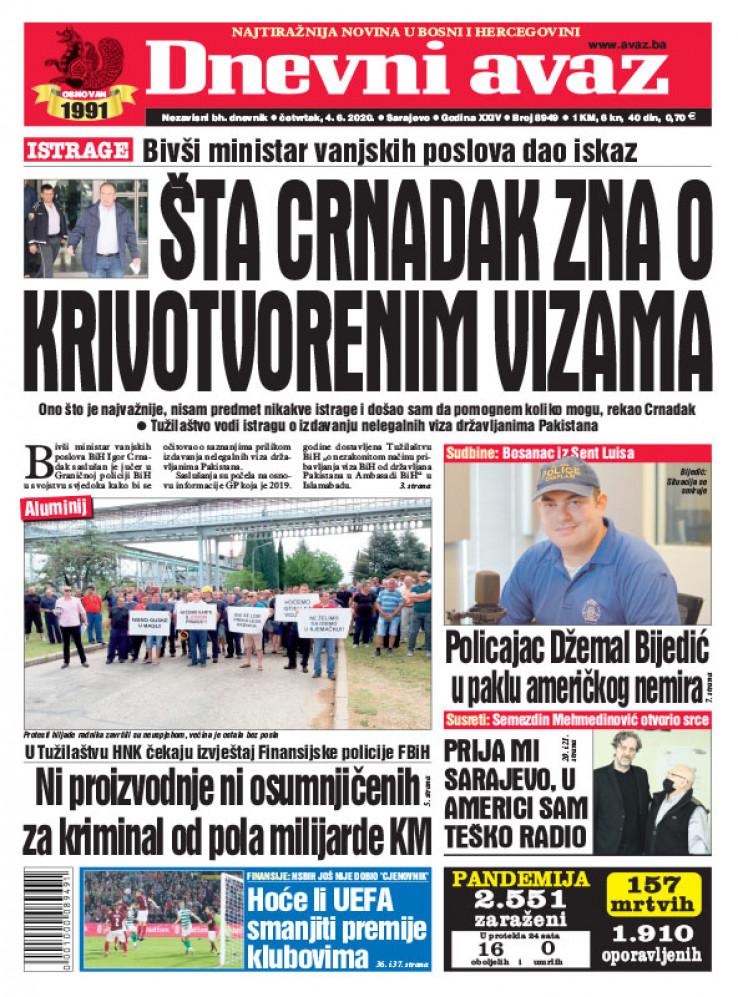 "Naslovna strana printanog izdanja ""Dnevnog avaza"" za 04.06.2020."