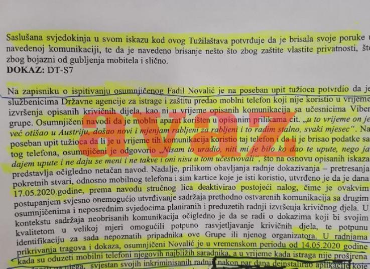 Faksimil dokaza Tužilaštva i izjava Novalića data u SIPA-i