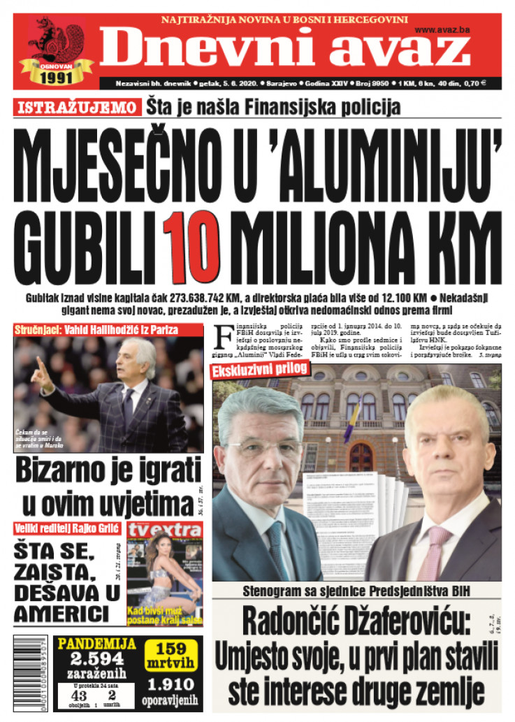 "Naslovna strana ""Dnevnog avaza"" za 05.06.2020."