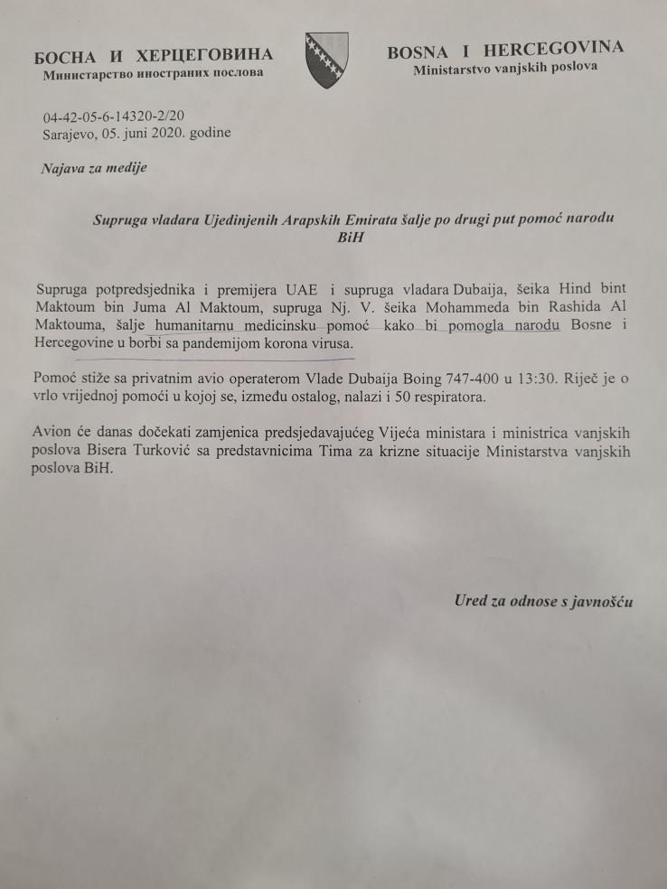 Faksimil najave MVP za medije: Pomoć za BiH?