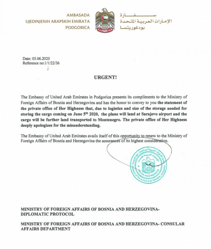 Izvinjenje iz Ambasade UAE u Podgorici