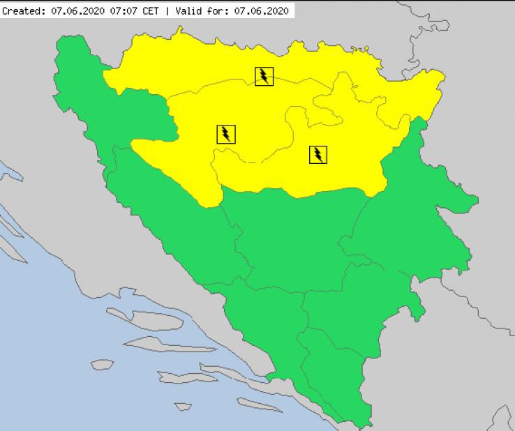 Žuti meteoalarm za tri regije