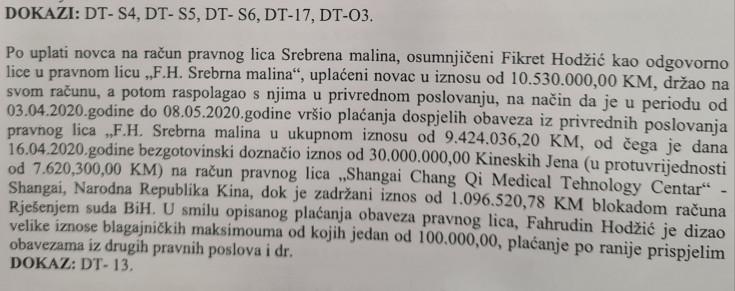 "Faksimil Tužilaštva BiH o sredstvima ""Srebrene maline"""