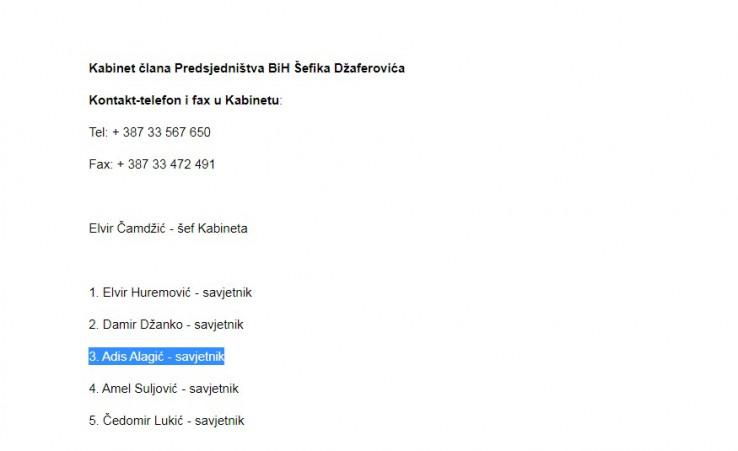 Alagić se i dalje nalazi na spisku Džaferovićevih savjetnika