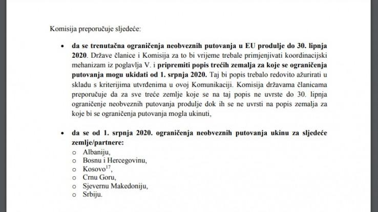 Faksimil dokumenta Evropske komisije u kojem se predlaže ukidanje zabrane putovanja