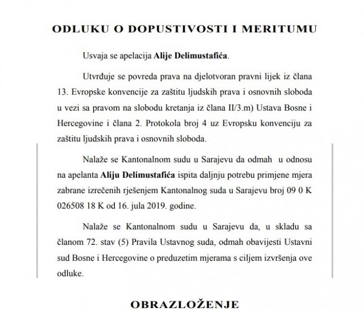 Faksimil odluke Ustavnog suda BiH