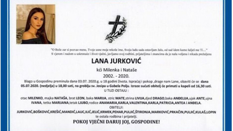 Smrtovnica tragično nastradale Lane Jurković