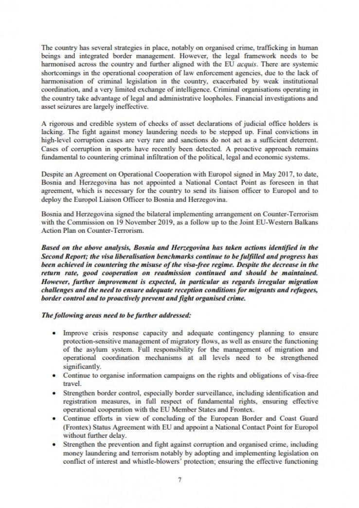 Faksimil dijela Izvještaja Evropske komisije