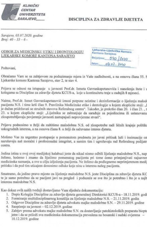 Faksimil prijave protiv Ismeta Gavrankapetanović