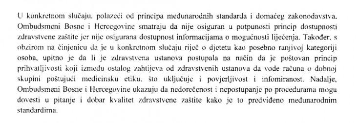 Faksimil dijela mišljenja Ombudsmena BiH