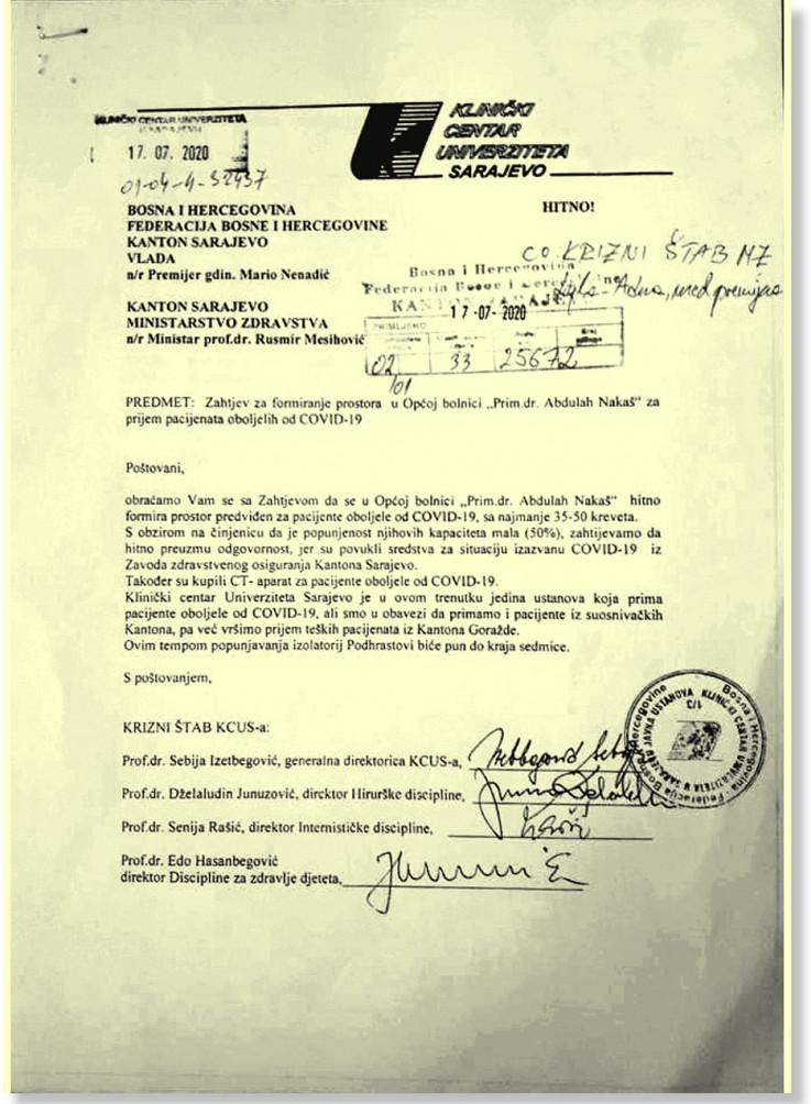 Faksimil dopisa KCUS-a - Avaz, Dnevni avaz, avaz.ba