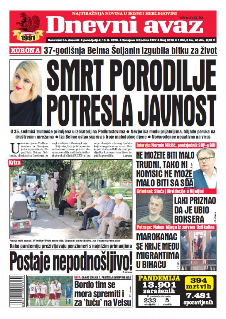 "Naslovna strana današnjeg izdanja ""Dnevnog avaza"""