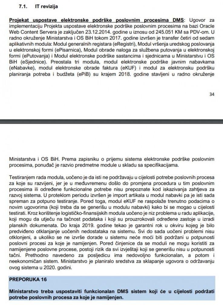 Dio revizorskog izvještaja za Ministarstvo sigurnosti BiH
