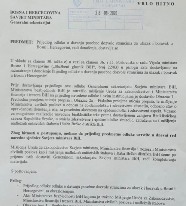 Zahtjev Cikotića od 27. avgusta