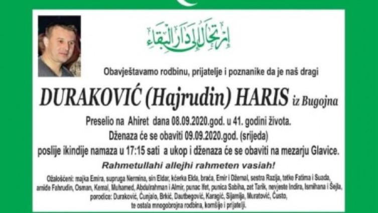 Smrtovnica preminulom Harisu Durakoviću