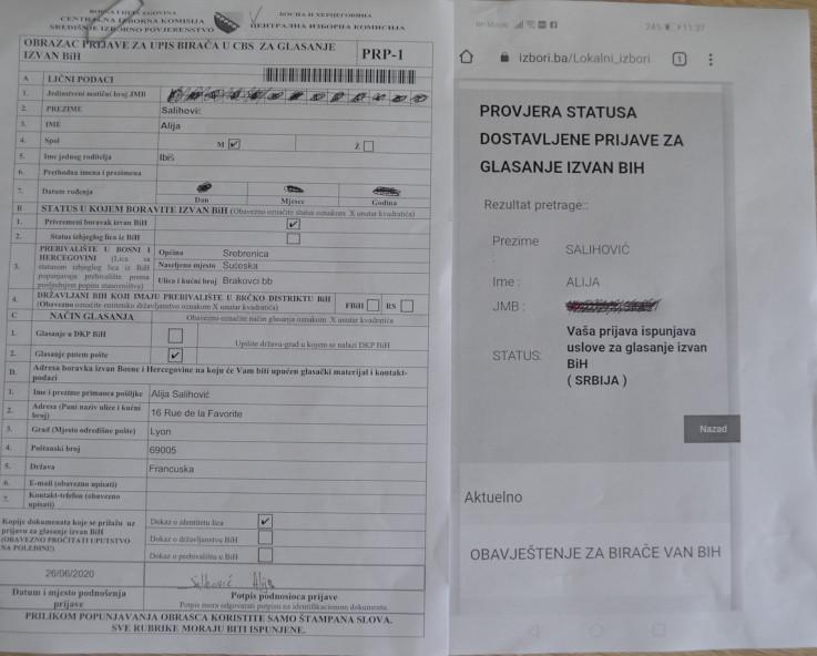 Jedna od lažnih prijava za glasanje poštom iz Srbije