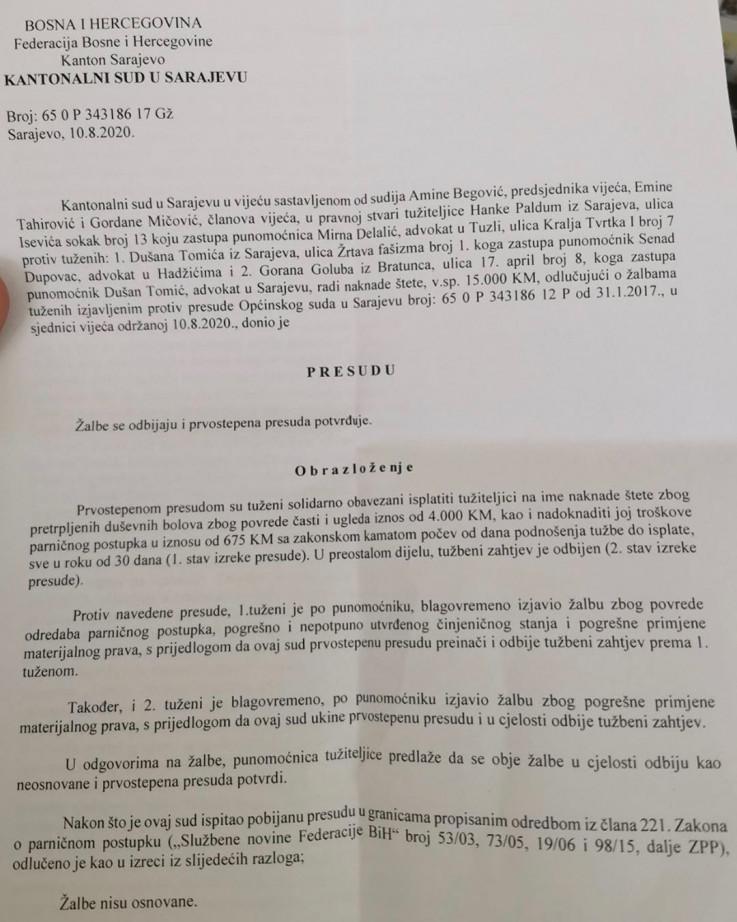 Presuda Kantonalnog suda u Sarajevu