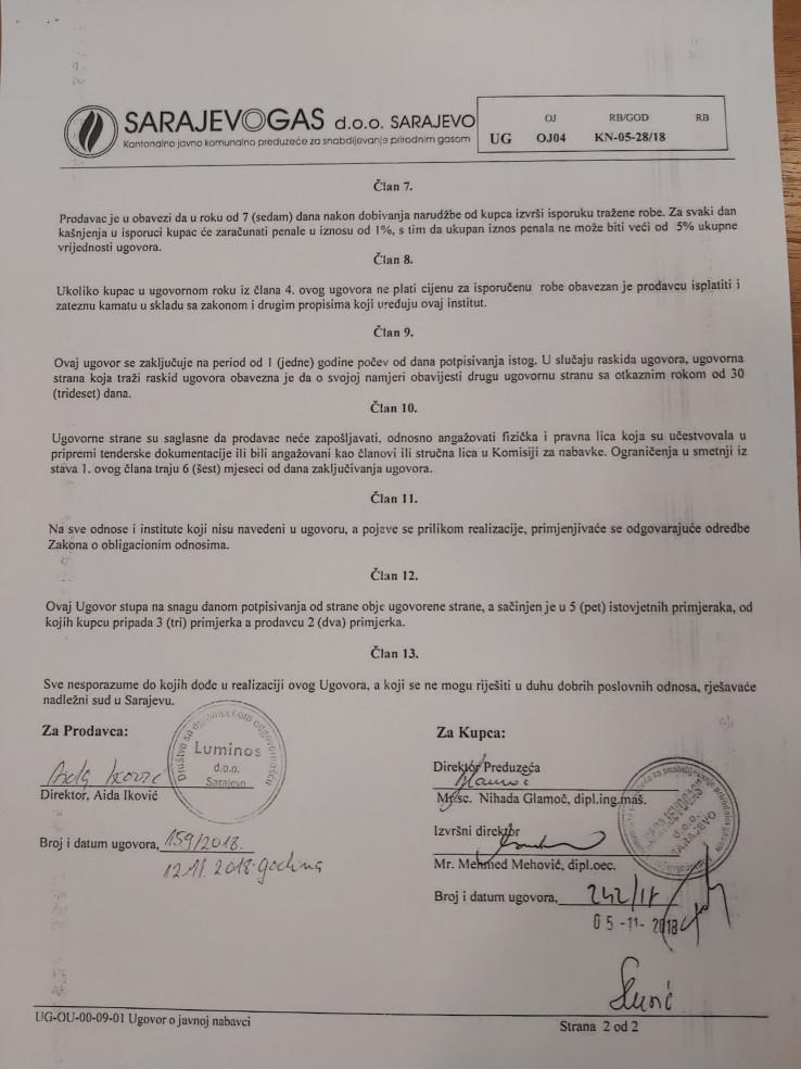 Ugovor koji je potpisala Glamoč s firmom svoga djevera kao direktorica ''Sarajevogasa'' iz novembra 2018. godine