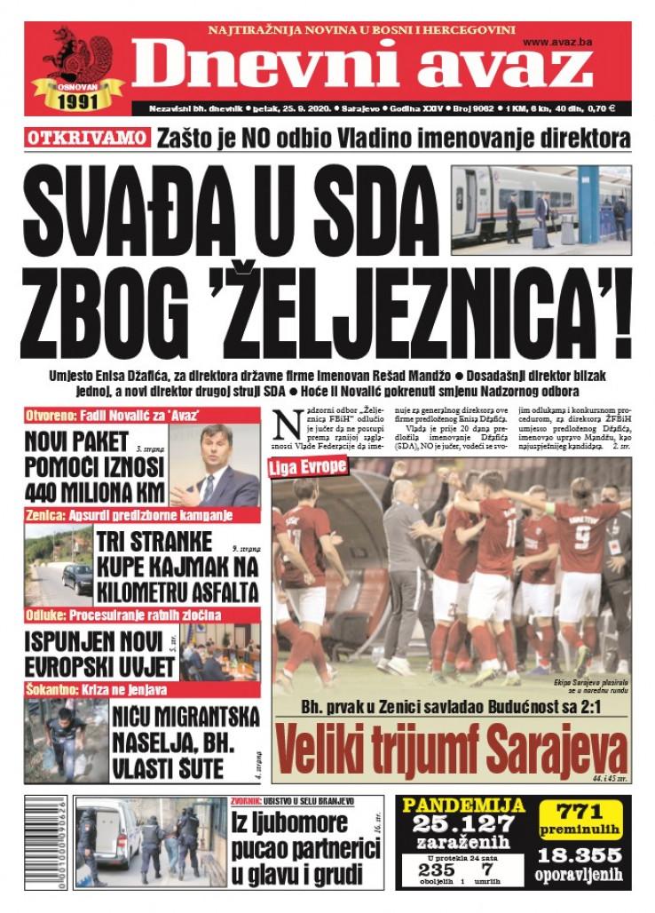 Današnja naslovnica Dnevnog avaza