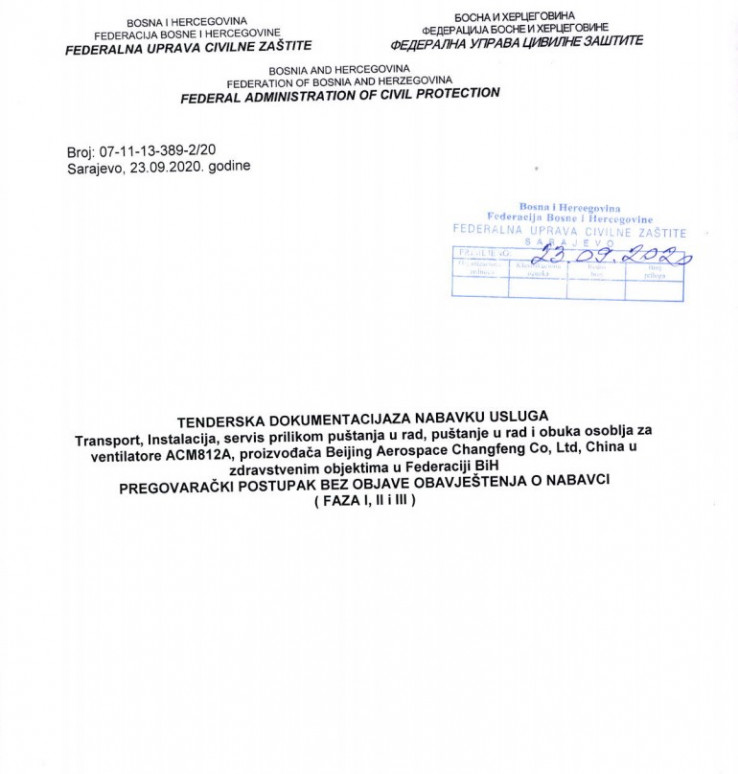 Faksimil novog tendera od 23.septembra