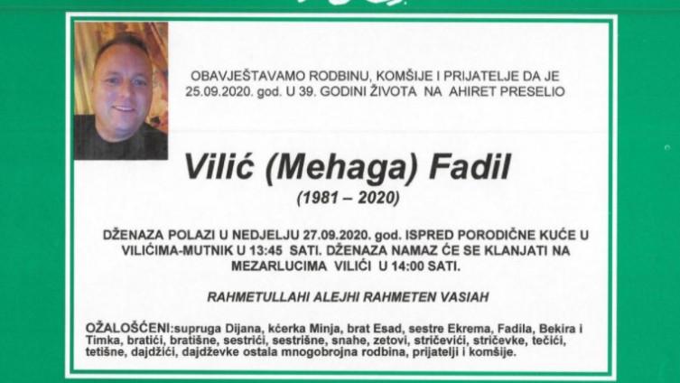 Dženaza Fadilu Viliću sutra u mjestu Mutnik