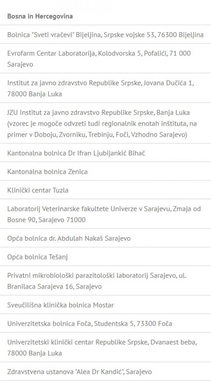 Spisak laboratorija iz BiH koje Republika Slovenija priznaje